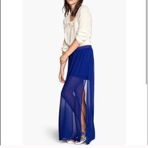 Royal blue sheer maxi skirt with slits